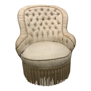 Late 19th Century Victorian Tufted Boudoir Chair For Sale