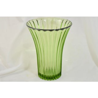 Green Fluted Glass Trumpet Vase Preview