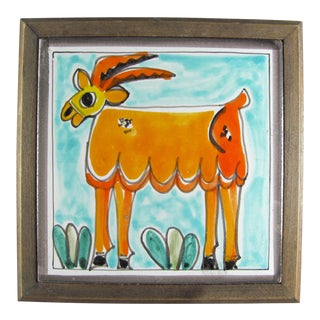 1960s DeSimone Hand Painted Goat Ceramic Tile Wood Frame For Sale