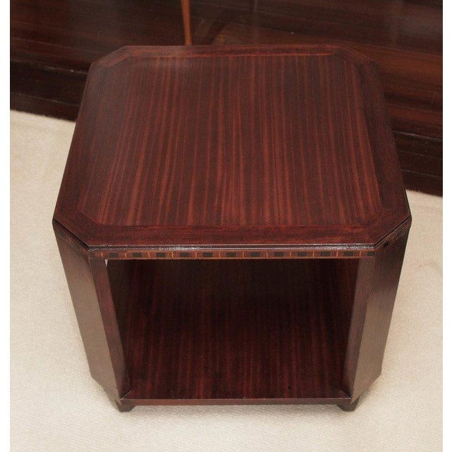 2-Ties Art Deco Side Table in Mahogany For Sale In New Orleans - Image 6 of 7