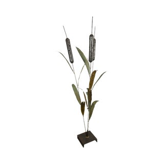 "Brutalist Mid Century 72"" Tall Cattail Metal Floor Sculpture For Sale"