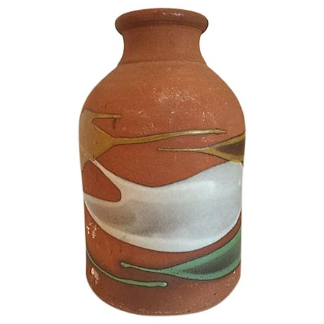 Partially Glazed Artistic Pottery Bottle For Sale