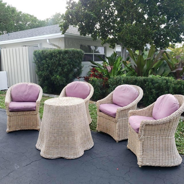 Vintage Draped Wicker Center Table For Sale - Image 10 of 11