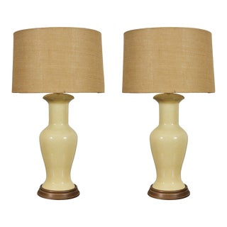 Mid-Century Ceramic Lamps with Otto Munder Shades For Sale