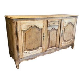1830 Antique French Louis XV Stripped Oak Buffet For Sale