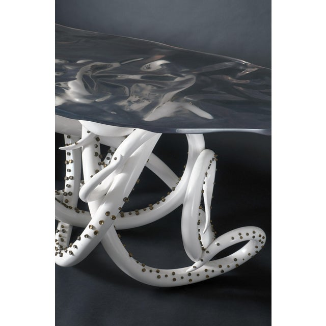 Amethyst White Resin Octopus Console Table With Clear Amethyst Resin Top For Sale - Image 7 of 8