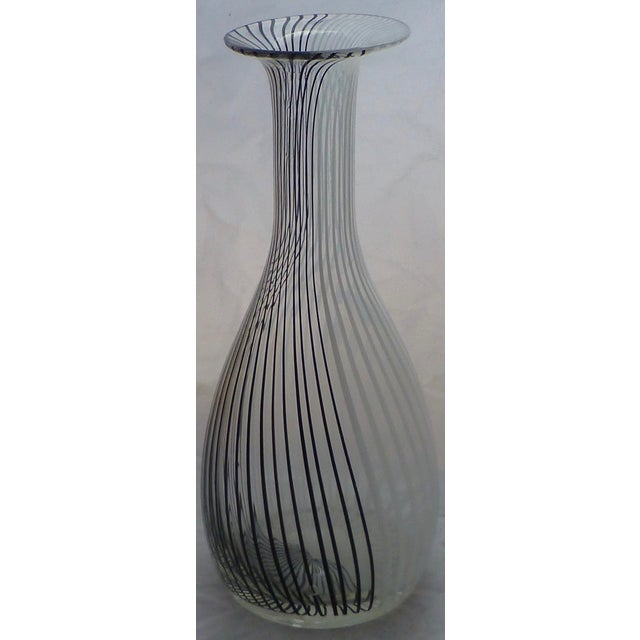 """Beautiful black and white striped vase, or """"tessuto"""" vase by the Venini glasshouse. Ground and polished pontil, with a..."""