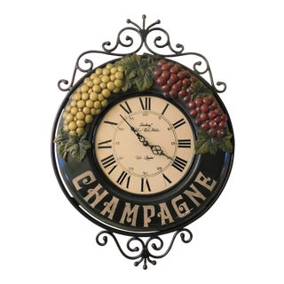 Green Enamel Champagne Clock For Sale