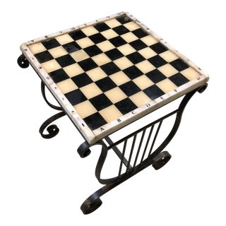 French 1940s Marble & Iron Chess Side Table For Sale