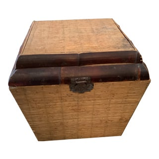 1970s Small Boho Chic Bamboo Trunk With Brass Latch For Sale