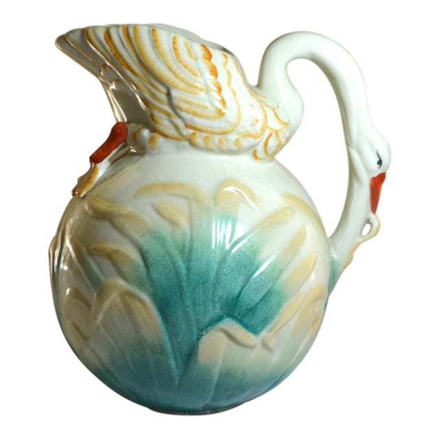 Vintage Large Majolica Swan Shaped Pitcher For Sale