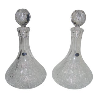 Valaska Bela Slovakia Hand Cut Crystal Decanters With Stoppers - A Pair For Sale