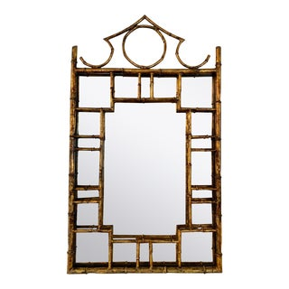Lebarge Chinoiserie Gold Gilt Metal Faux Bamboo Mirror For Sale