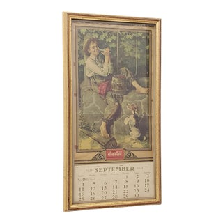 Vintage 1932 Coca-Cola Norman Rockwell Art Wall Calendar With September Page For Sale