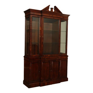 Hekman Federal Style Yew Wood Breakfront China Cabinet For Sale