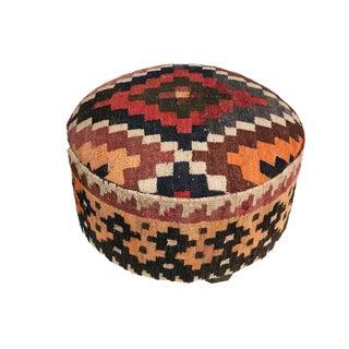 "Custom Made Round Ottoman/Footstool W/Vtg Tribal Afghan Kilim 12"" H For Sale"