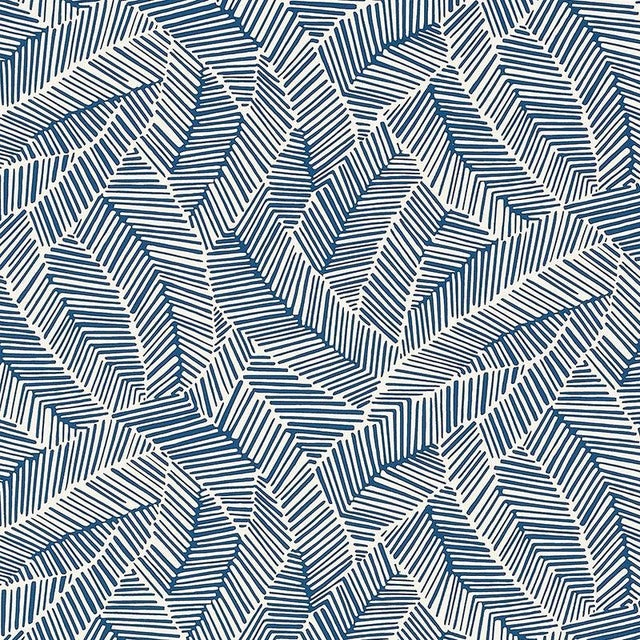 Schumacher Abstract Leaf Geometric Stripes Wallpaper in Navy Blue - 2-Roll Set (9 Yards) For Sale