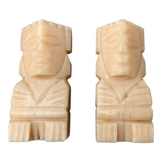 Mexican Marble Totem Design Bookends - a Pair For Sale