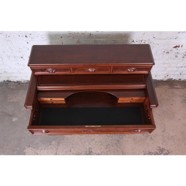 Mid 19th Century Antique Victorian Carved Flame Mahogany Chicago Railroad Desk, Circa 1850 For Sale - Image 5 of 13