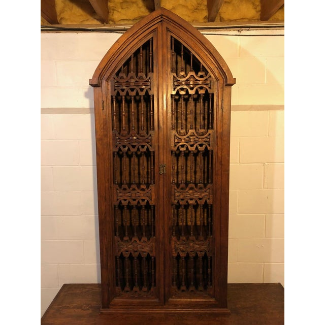 Magnificent Hand Carved Mahogany Gothic Style Bookshelf Cabinet For Sale - Image 10 of 11