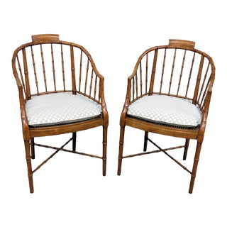 Vintage Mid Century Baker Faux Bamboo Club Chairs- A Pair For Sale