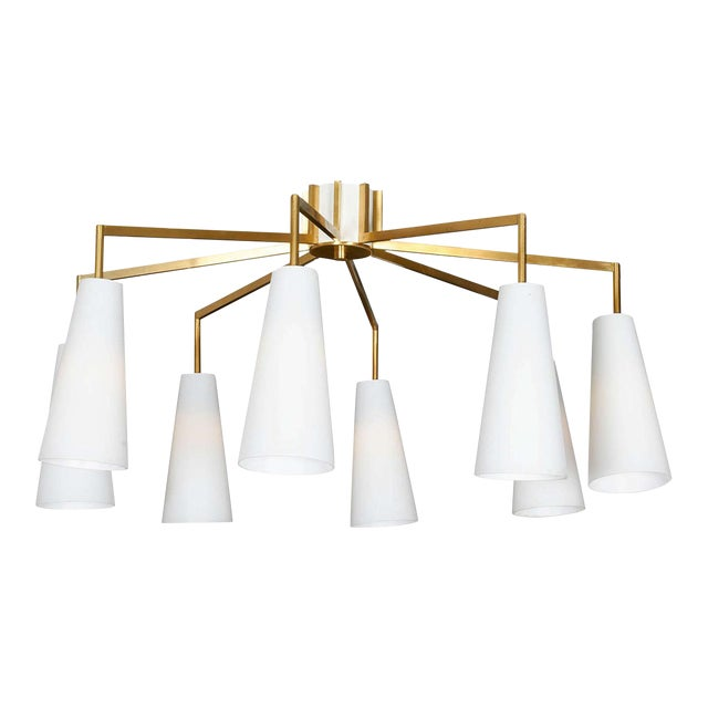 8 Arm Chandelier with Glass Diffusers - Image 1 of 1
