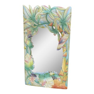 Coastal Tropical Parrot Wood Carved Mirror For Sale