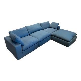 Overstuffed Blue Linen 4 Piece Sectional Sofa For Sale