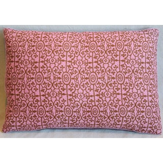 "Contemporary Raoul Hand-Printed Linen & Velvet Pillow 22"" X 16"" Preview"
