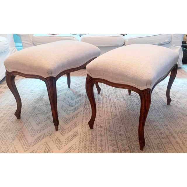 Antique Louis XV Style Walnut Benches Footstools Upholstered in Off-White Linen Fabric - a Pair For Sale - Image 4 of 13