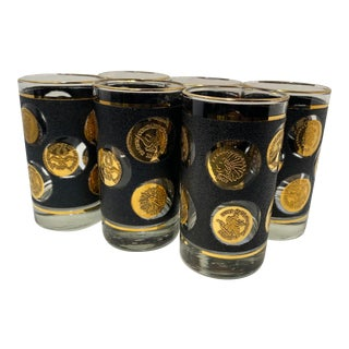 1960s Libbey Glass Co. Mid-Century Gold Coin Glasses - Set of 6 For Sale