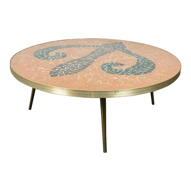 Italian Modern Round Mosaic Tile Coffee Table, Circa 1950's For Sale