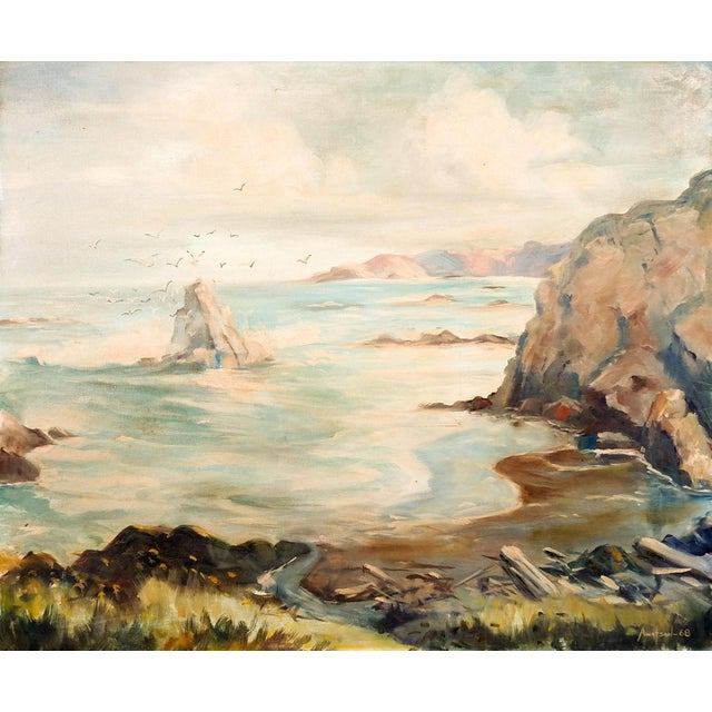 Seascape Rocky Coastline Painting For Sale - Image 4 of 4