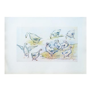 1950s Vintage Geese Lithograph From Budapest by Alfred Sisley For Sale