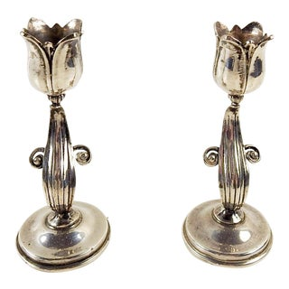 Sterling Silver Tulip Candle Holders - a Pair For Sale