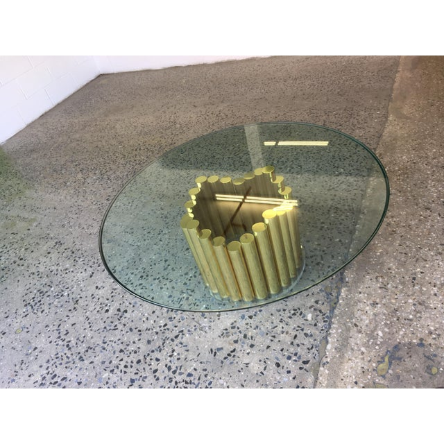 1980's Karl Springer Style Brass Lucite & Glass Cocktail Table - Image 3 of 10