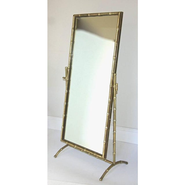 French 1950s French Bagues Bronze Bamboo Cheval Floor Mirror For Sale - Image 3 of 11