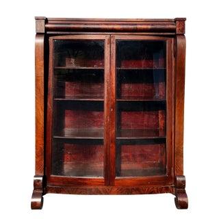 19th Century Antique American Empire Flame Mahogany Bookcase For Sale