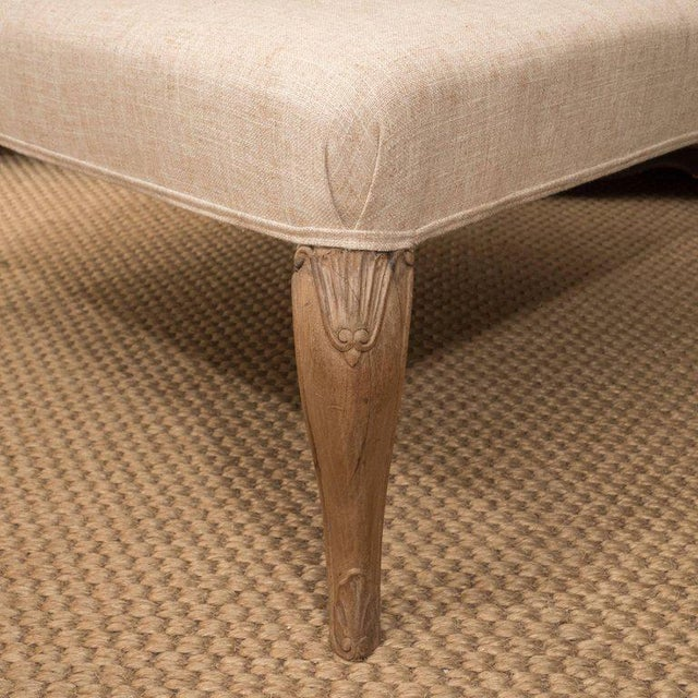 Linen Mid 20th Century Square French Ottoman For Sale - Image 7 of 8