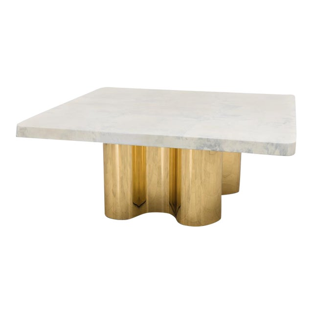 Freeform Dining Table With Custom Goatskin Top, Usa For Sale