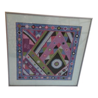 Geometric Framed Needlepoint Artwork For Sale