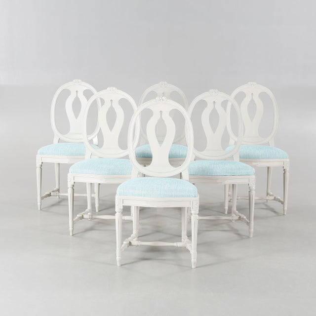 1970s Vintage Gustavian Carved Rose Chairs- Set of 6 For Sale In Greensboro - Image 6 of 6