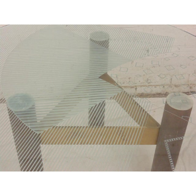Last Call 1986 Modernage Miami Postmodern Glass & Brass Geometric Dining Table - Image 4 of 6