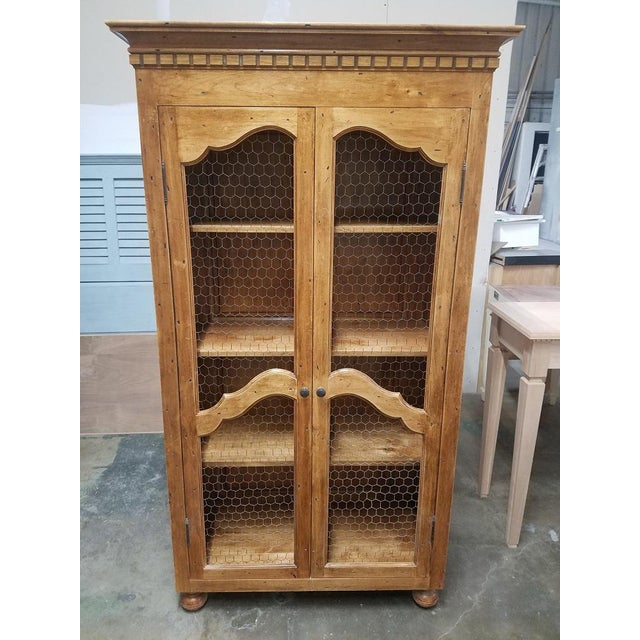 Wood French Country Chicken Wire Cupboard Hutch China Cabinet For Sale - Image 7 of 7