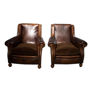Art Deco Leather Chairs With Alpaca Velvet Seats - a Pair For Sale