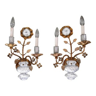 Gilt Sunflower & Urn Crystal Banci Wall Sconces - a Pair For Sale