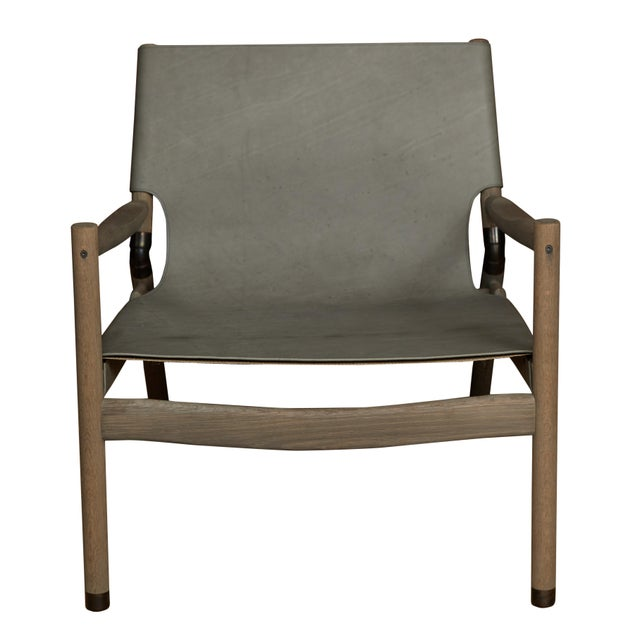 "Erickson Aesthetics Slung Leather Greyed Oak Lounge Chair Seat Height-15"" Custom orders have a lead time of 10-12 weeks..."