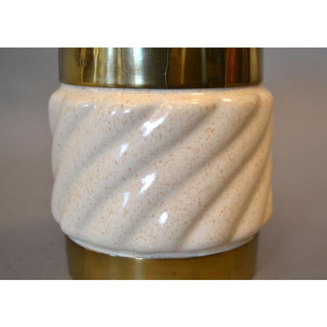Mid-Century Modern Tommaso Barbi Beige Ceramic & Brass Lighter Italy, Signed For Sale In Miami - Image 6 of 11