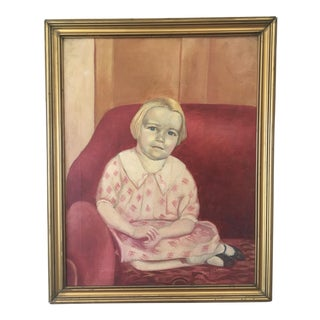 Original Seated Girl by Joe Flores Signed Oil Painting