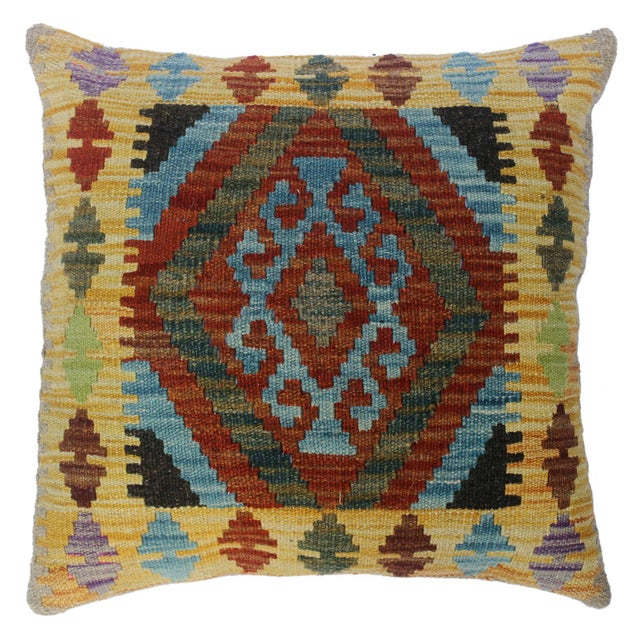 """Christen Gold/Lt. Blue Hand-Woven Kilim Throw Pillow(18""""x18"""") For Sale In New York - Image 6 of 6"""